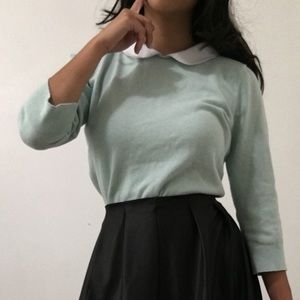 Peter Pan Collared Muted Green Top